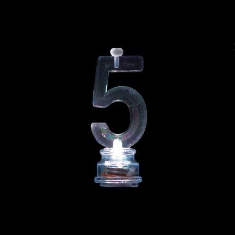 4 Velas y Número 5 Led