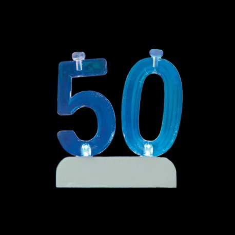 4 Velas y Número 50 Led